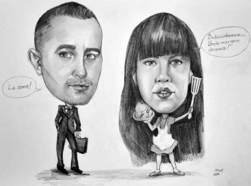 Caricatura alb-negru clasic la 2 persoane, A3