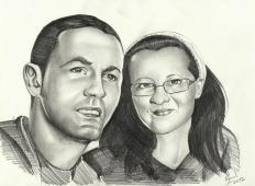 Portret bust <b>2</b> persoane, alb-negru, , A3